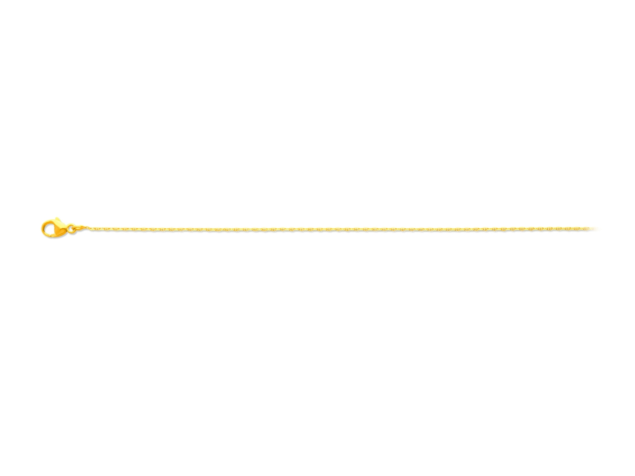 Collier maille forçat marine diamantée, Or jaune 18k, 1,1 mm, 45 cm