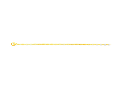 Collier maille Forçat marine diamantée 2,3 mm, 55 cm, Or jaune 18k