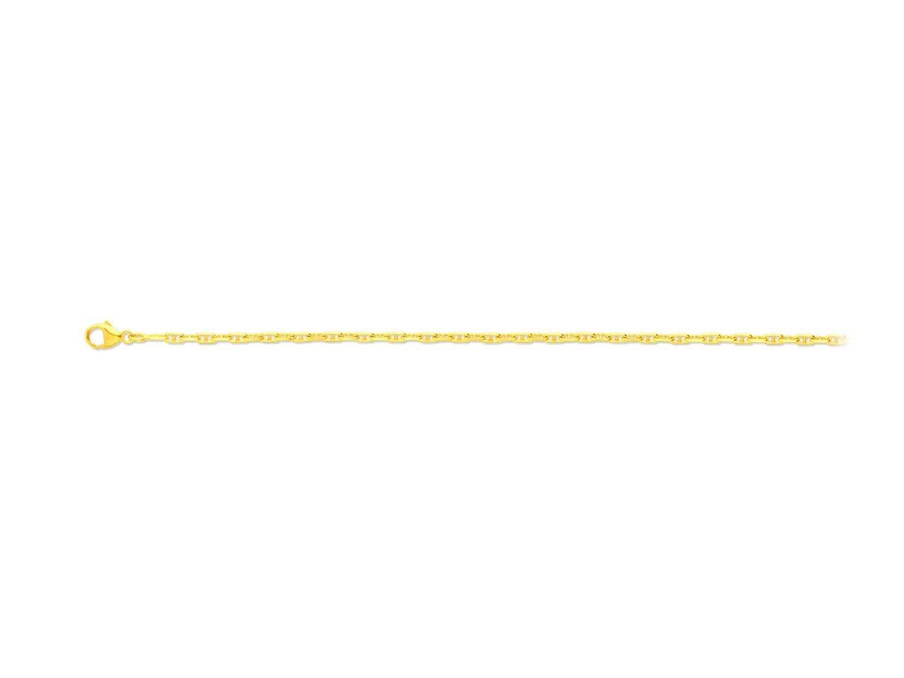 Collier maille forçat marine diamantée, Or jaune 18k, 2,3 mm, 55 cm