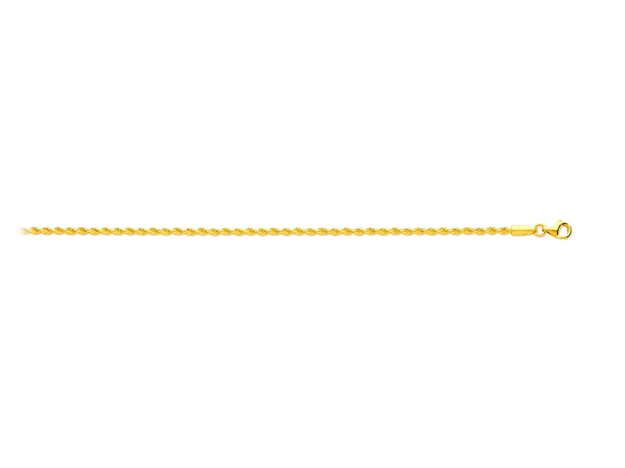 Collier maille corde, Or jaune 18k, 2 mm, 45 cm