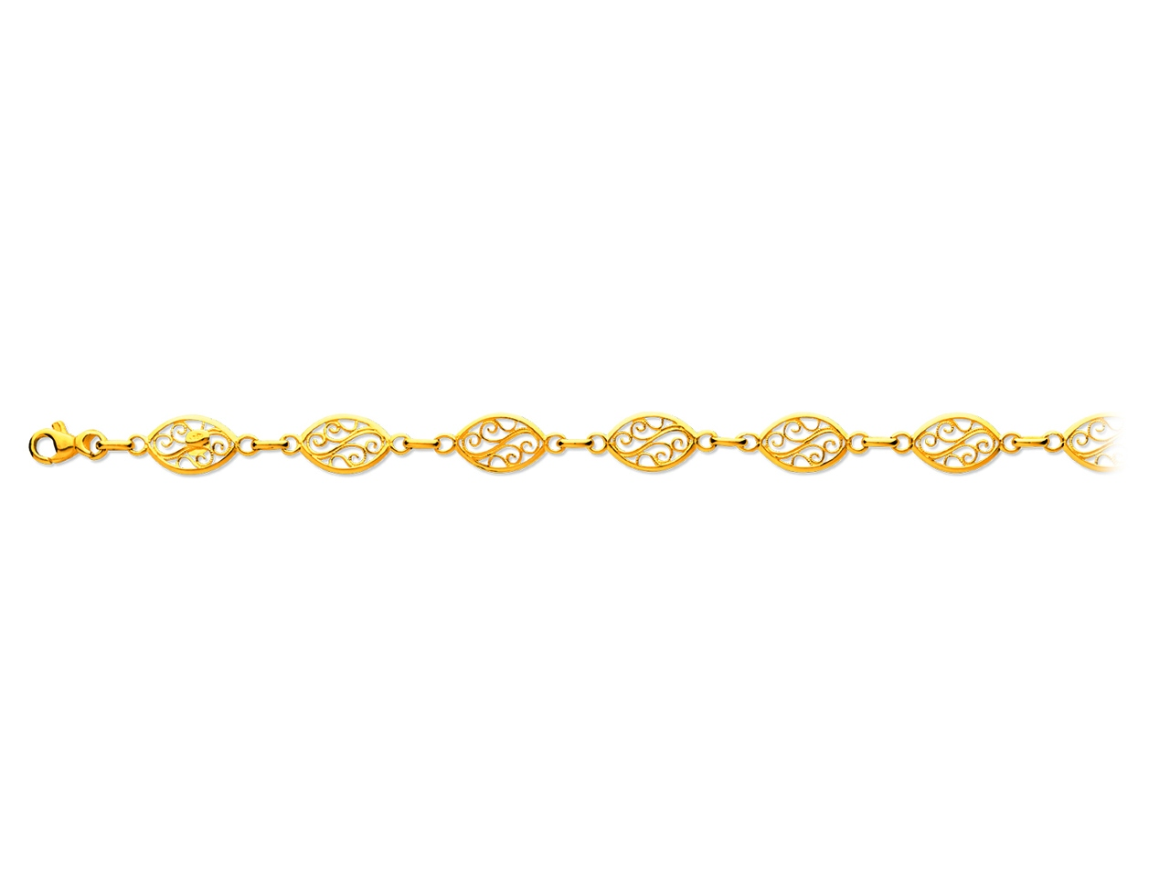 Bracelet maille filigrane 8 mm, 19 cm, Or jaune 18k