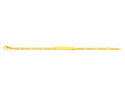 Identit bb maille marine diamante alterne 25 mm Or jaune 18k 14 cm