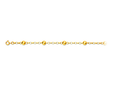 Bracelet alternes Chane et boules Or jaune 18k 6 mm 185 cm