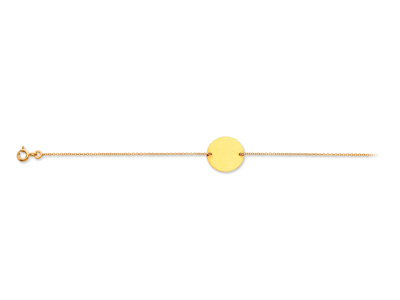 Bracelet Chane plaque ronde Or jaune 18k 18 cm