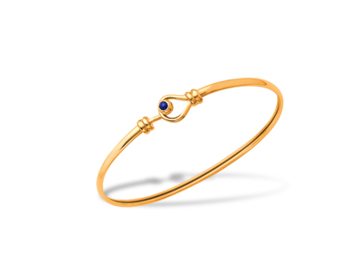 Bracelet Jonc lestique Or jaune 18k diamtre 60 mm