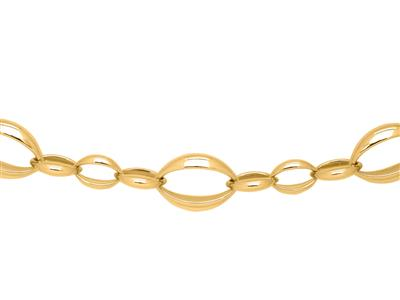 Collier mailles ovales alternes 16 mm Or jaune 18k 46 cm