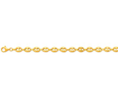 Bracelet Grains de café creux 8 x 10 mm 20 cm Or jaune 18k