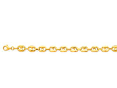 Bracelet Grains de café creux 9 x 12 mm 21 cm Or jaune 18k