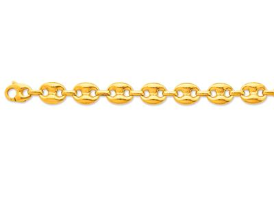 Bracelet Grains de café creux 3 x 4 mm 19 cm Or jaune 18k