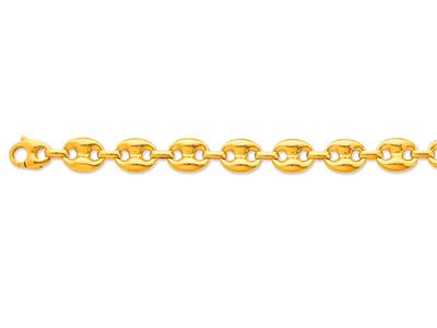 Bracelet maille Grains de café creuse 14 x 18mm, 22 cm, Or jaune 18k