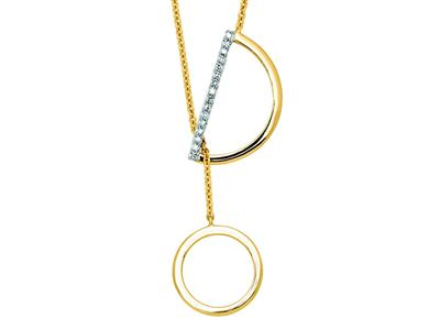 Collier Y rglable Or jaune 18k 12 cercle diamants 006ct