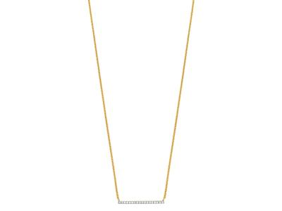 Collier Barrette pavage diamants 0,07ct, 40-45 cm, Or jaune 18k