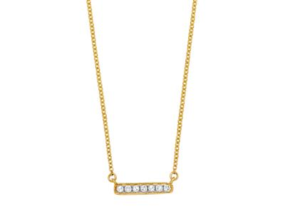 Collier Barrette diamants 0,05ct, chaîne Forçat ronde, 42-44-45 cm, Or jaune 18k