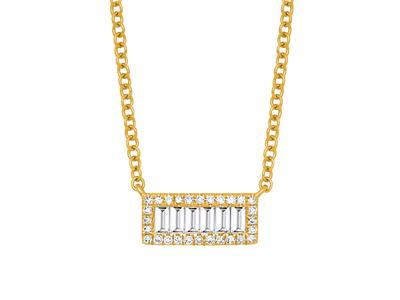 Collier motif Rectangle, diamants baguettes et rondes 0,24ct, 42 cm, Or jaune 18k
