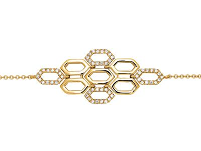 Bracelet chaîne 5 diamants ronds 0,12ct, 16-18 cm, Or jaune 18k
