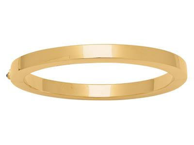 Bracelet Jonc tube carré 6 mm, 63 mm, Or jaune 18k