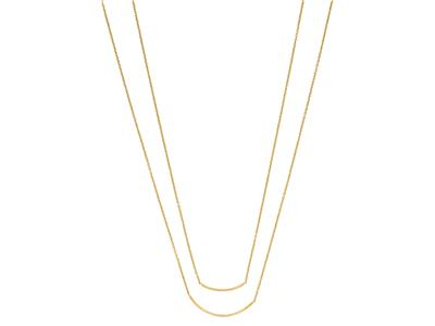 Collier double rangs 2 tubes, 4244 cm, Or jaune 18k