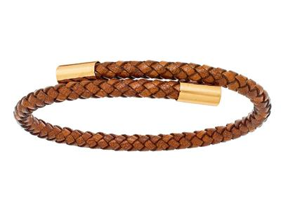 Bracelet cuir camel 4 mm, Embout Or jaune 18k, 57 x 45 mm