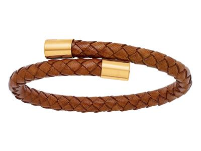 Bracelet cuir camel 6 mm, Embout Or jaune 18k, 57 x 45 mm