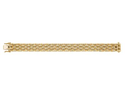 Bracelet Grains de Riz 12,5 mm, 5 rangs, 17 cm, Or jaune 18k