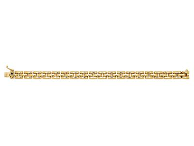 Bracelet Grains de Riz 7,5 mm, 3 rangs, 17 cm, Or jaune 18k