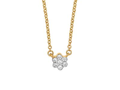 Collier Solitaire petite Fleur, diamants 0,04ct, 42-44-45 cm, Or jaune 18k