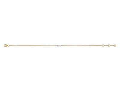 Bracelet 3 pastilles serti illusion, petit modèle, diamants 0,03ct, 16-17-18 cm, Or jaune 18k