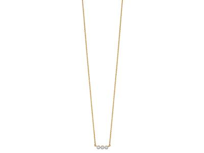 Collier 3 Pastilles serti illusion, petit modèle, diamants 0,03ct, 42-44-45 cm, Or jaune 18k