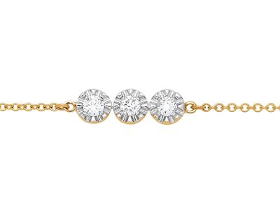 Bracelet 3 pastilles serti illusion, grand modèle, diamants 0,10ct, 16-17-18 cm, Or jaune 18k