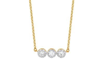 Collier 3 Pastilles serti illusion, grand modèle, diamants 0,10ct, 42-44-45 cm, Or jaune 18k