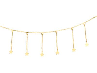 Collier 7 pampilles Etoiles, 38-40-42 cm, Or jaune 18k