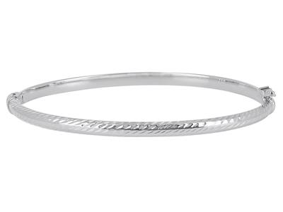 Bracelet Jonc tube carré ciselé 4 mm, 55 x 65 mm, Or gris 18k
