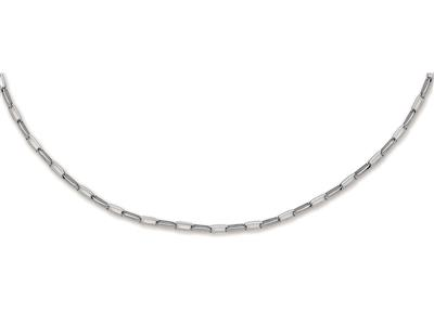 Collier 5551 Forat long massif Or Gris 50 cm