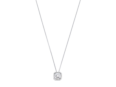 Collier motif Carré grand modèle, diamants 0,433ct, 40 cm, Or gris 18k