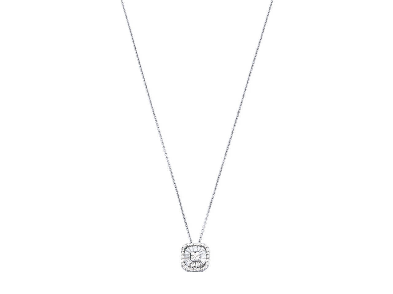 Collier motif carré grand modèle, Or gris, diamants 0,433 ct