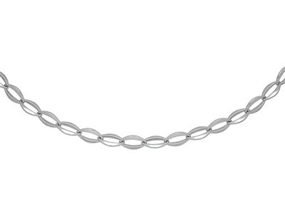 Collier mailles Ovales larges 10,5 mm, 45 cm, Or gris 18k