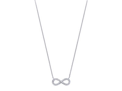 Collier Infinity Or gris, diamants 0,10 ct