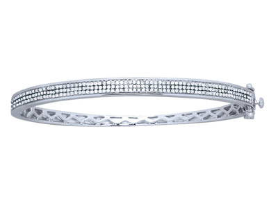Bracelet Jonc serti 3 rangs 0,70 ct, 63 mm, Or gris 18k