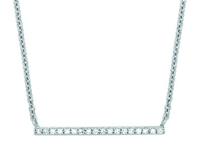 Collier Barrette pavage diamants 0,07ct, 40-45 cm, Or gris 18k
