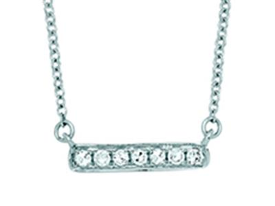 Collier Barrette diamants 0,05ct, chaîne Forçat ordinaire, 42-44-45 cm, Or gris 18k