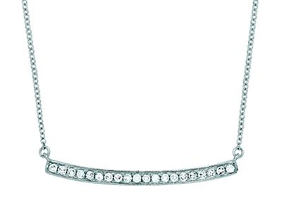 Collier Barrette diamants 0,12ct, chaîne Forçat ordinaire, 42-44-45 cm, Or gris 18k