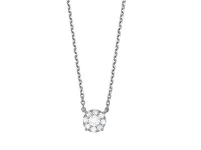 Collier motif fixe, diamants serti illusion 0,30ct, 42-45 cm, Or gris 18k