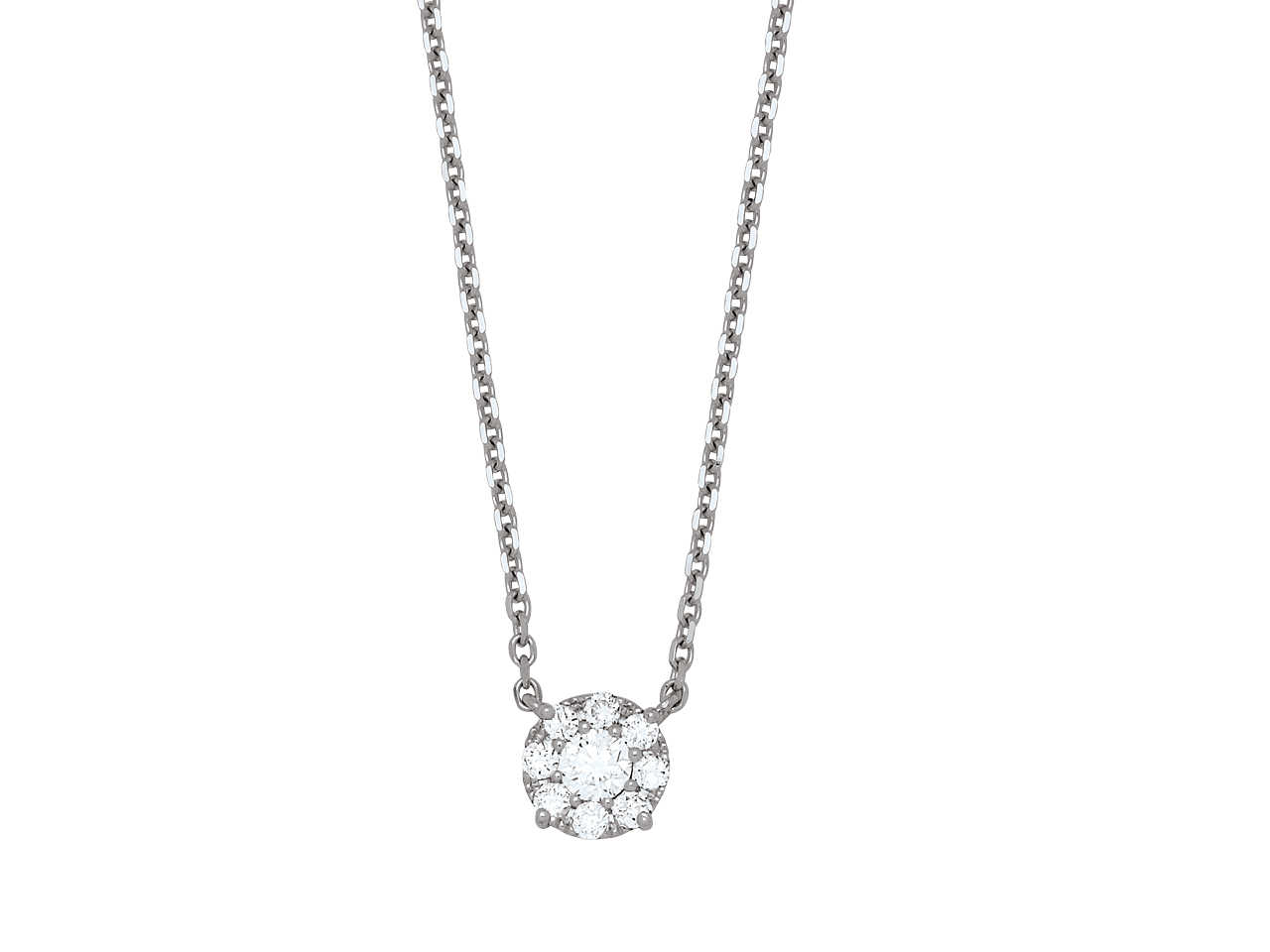 Collier Diamants serti illusion, motif fixe, 0,30ct, Or ris 18k, 42-45 cm