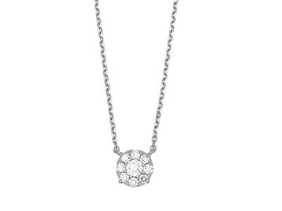Collier motif fixe, diamants serti illusion 0,46ct, 42-45 cm, Or gris 18k