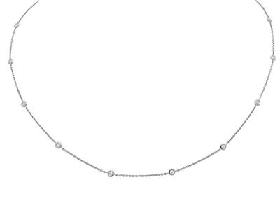 Collier Tennis 10 diamants 0,23ct, 45 cm, Or gris 18k