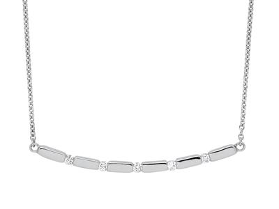 Collier Courbe diamants 0,60ct, 40-50 cm, Or gris 18k