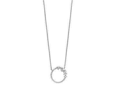 Collier Cercle diamants 0,21ct, 38-40 cm, Or gris 18k