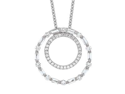 Collier double Cercle diamants 0,44ct, 38-40 cm, Or gris 18k