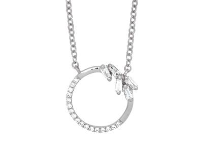 Collier Cercle diamants ronds et baguettes 0,12ct, 40-42 cm, Or gris 18k