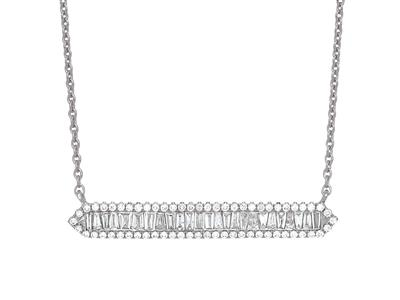 Collier Ligne diamants baguettes et ronds 0,49ct, 40-42 cm, Or gris 18k